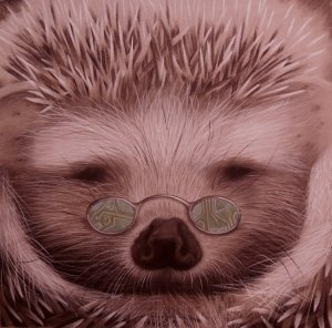 Porcupine with spectacles. Art of Anvil Williamson for art marketing for introverts.