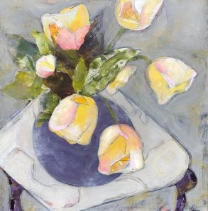 yellow tulips, purple vase painting for 51 art newsletter topic ideas post