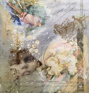 """""""The Last Gardner in Aleppo,"""" by Artist and Charmed Studio subscriber Sheryl Perry. 8""""x10"""" Mixed Media Collage on Arches Rough Art Board- 2016. In 51 Alternative Blog Post Ideas for Artists."""