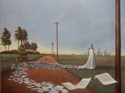 oil painting of dress made from letters, for art newsletter topics post