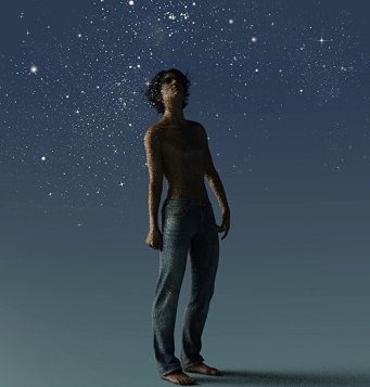 artwork of Young man gazing into a galaxy