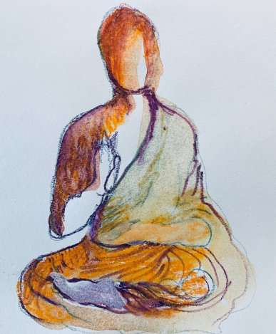Buddha by Donna Wocher, an example of one painting a day for How Art Can Cure a Broken Heart post