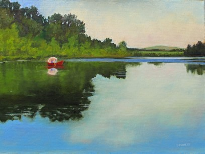 Painting of lake for how art can heal a broken heart