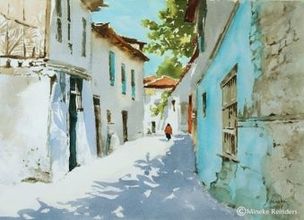 Mineke watercolor of street in Istanbul for recovering from a harsh critique article