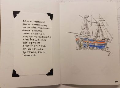 sketchbook entry of tall ship