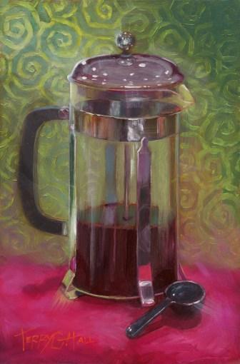 Painting of a coffee press, Brooklyn sketchbook deadline