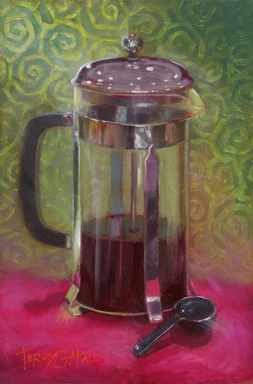 Painting of a coffee press, Brooklyn sketchbook deadline