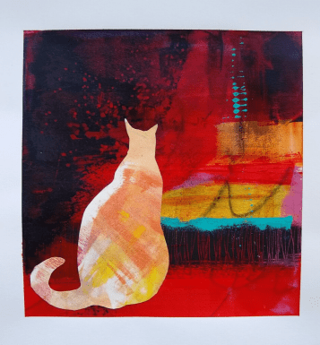 cat abstract art by Ginger Danz for Stay Positive post