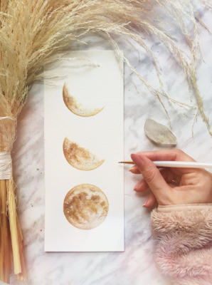 Original Mustard Yellow Phases of the Moon Painting, Gold Moon Phase Art, Gold Moon Phase Decor, Made to Order, flat lay image
