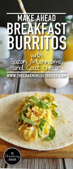 Make Ahead Breakfast Burritos: Prepare for a week full of success and delicious breakfast with make ahead breakfast burritos featuring mushrooms, bacon and goat cheese.