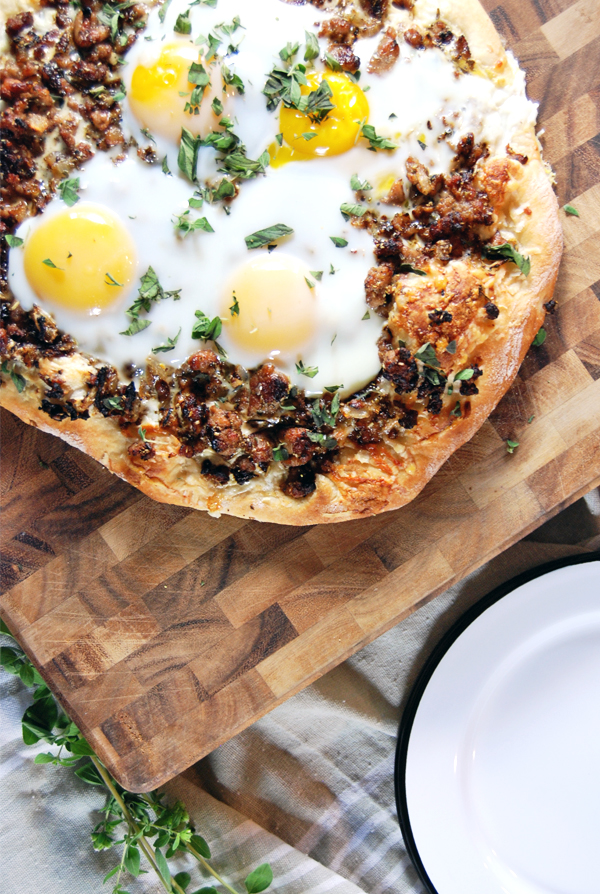 Three Cheese Pizza with Pork Sausage and Egg | The Charming Detroiter