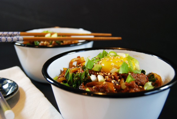 Spicy Pork Chorizo Noodles with Kale and Egg | The Charming Detroiter