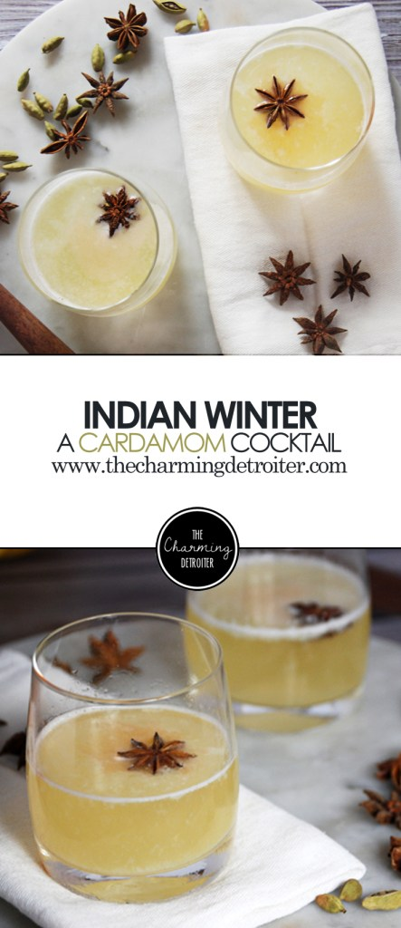Indian Winter: A Cardamom Cocktail - This unique winter cocktail will warm you right up with honey cardamom simple syrup and vodka.