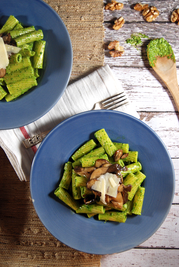 Spinach Pesto Pasta with Sautéed Gourmet Mushrooms: Creamy spinach pesto pasta is elevated by pairing it with delicious sautéed gourmet mushrooms!