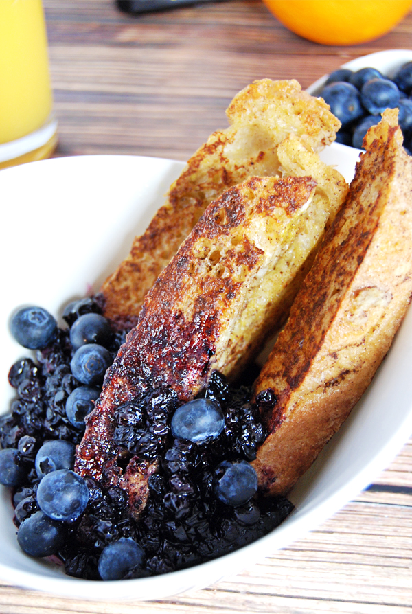 French Toast Sticks with Blueberry Compote: Classic french toast gets a new twist with these french toast sticks, featuring a delicious blueberry compote made with Cointreau.