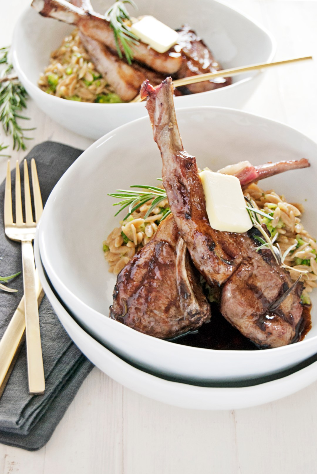 These beautiful grilled lamb chops are paired with a tasty and quick balsamic brown butter pan sauce.