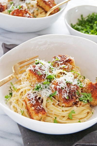 "My mom's famous chicken ""chicky"" pasta recipe is an oldie but goodie, with panko crusted chicken, linguine, and a beautiful white wine butter sauce."