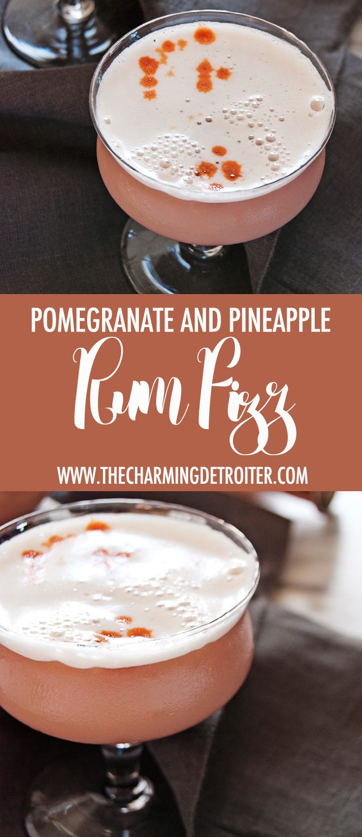 These tasty rum sour cocktails feature delicious pineapple juice and pomegranate juice and are finished with Angostura bitters.