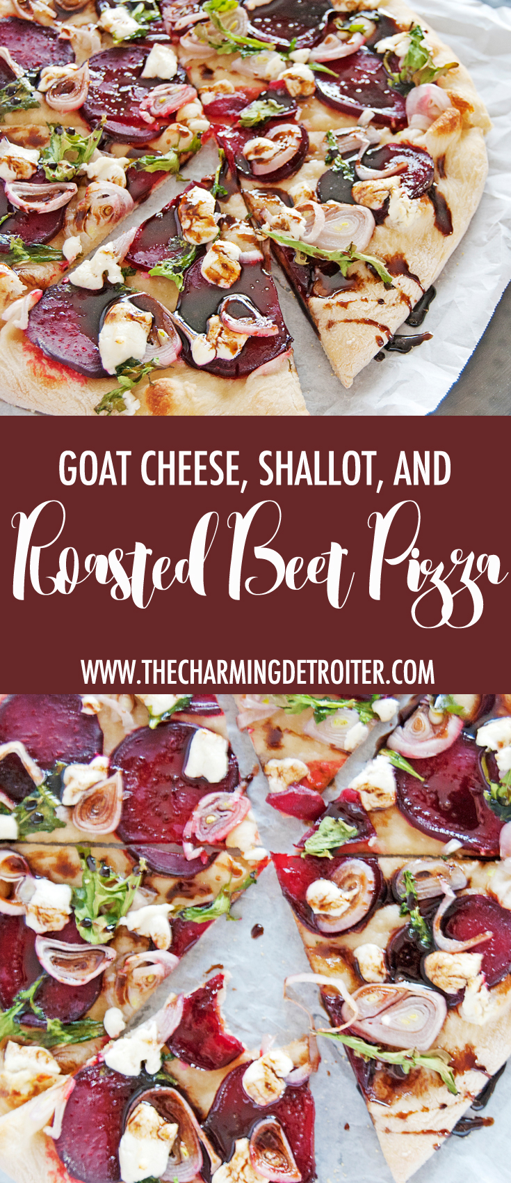This delicious beet pizza features beautifully oven roasted beets, creamy goat cheese and shallots, paired with a tangy balsamic honey vinaigrette.