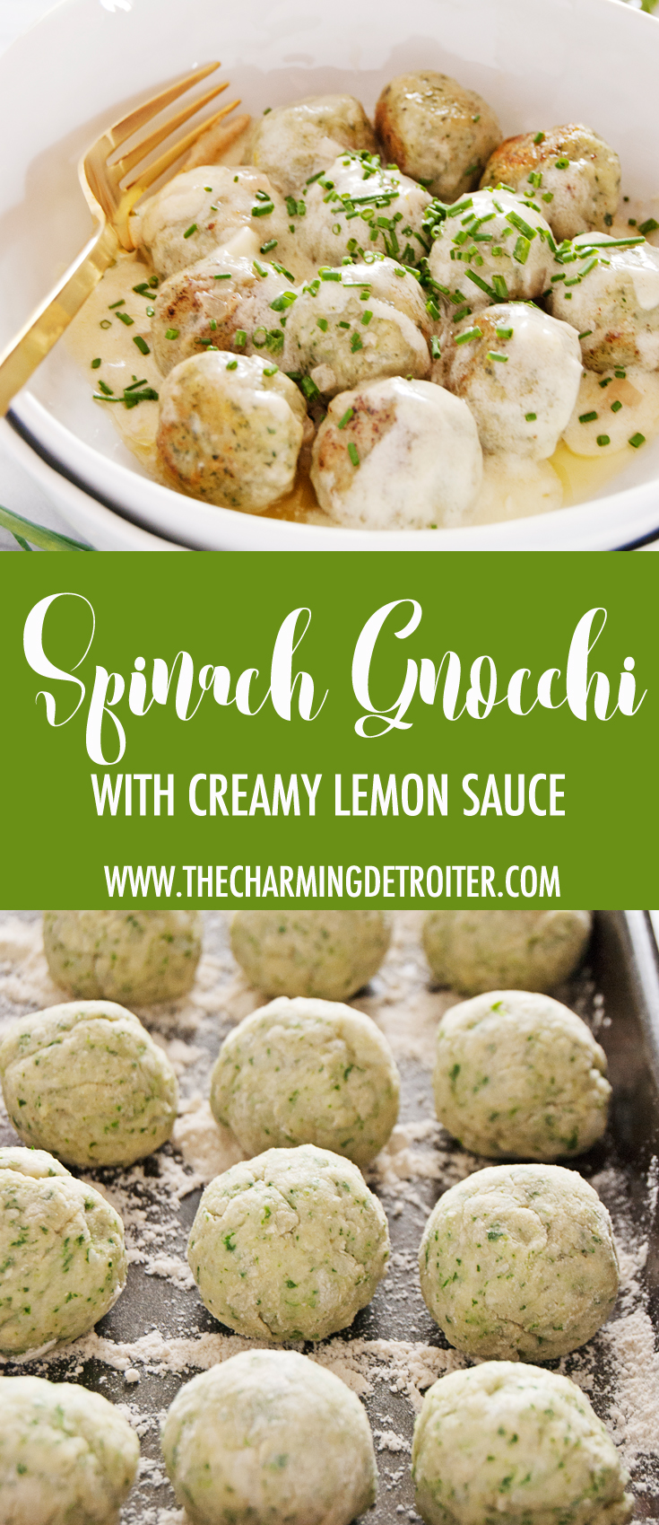 These homemade spinach gnocchi are crispy on the outside, melt-in-your-mouth on the inside, and paired with a luscious creamy lemon butter sauce.
