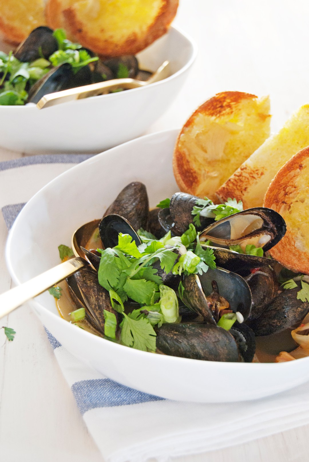 Steamed mussels: Asian style! With a Thai chili fennel broth and crunchy garlic toasts for dipping.