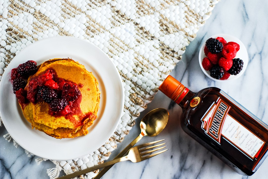 A recipe for easy pumpkin pancakes with a quick homemade berry compote, the perfect breakfast or brunch recipe for this fall.