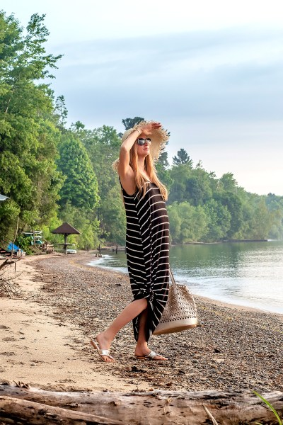 This black and white striped sundress is the perfect cozy and affordable piece for all your summer travels!