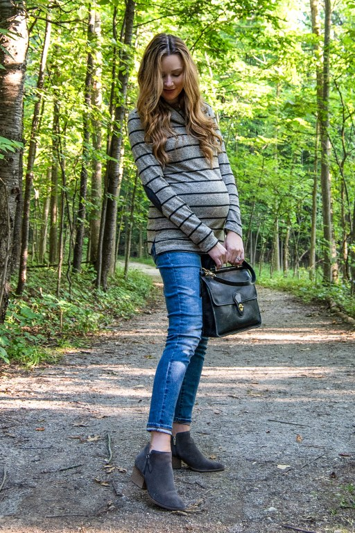 My new favorite fall maternity outfit features comfy and chic skinny jeans and a cozy elbow-patch turtleneck by Pink Blush, perfect for the cooler weather on the way!