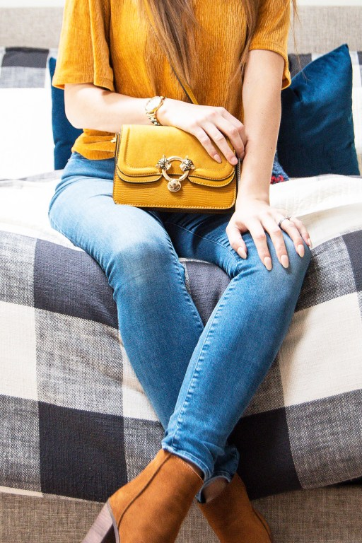 This casual holiday outfit is made extra special with yellow gold hues and luxurious textures!