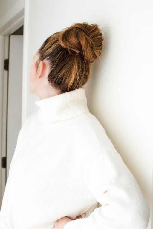 I'm sharing the perfect bun today, complete with my secret product that I use for cute hair buns that stay put every time!