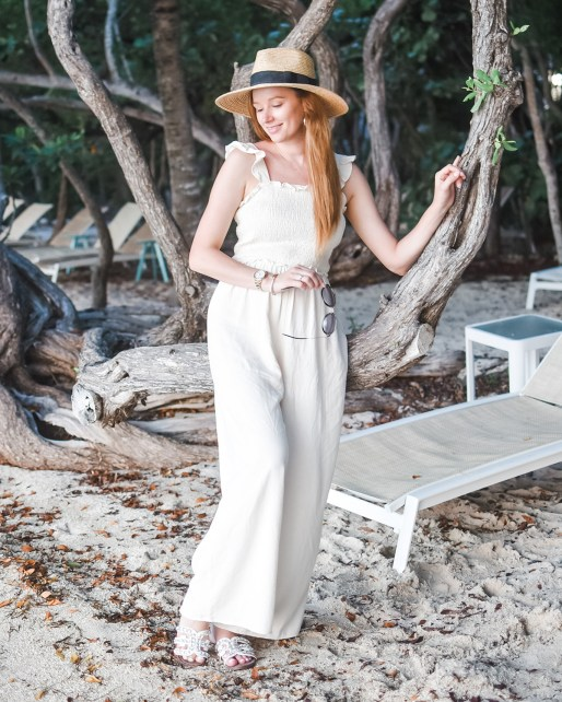"I'm on ""Island Time"" in this effortless neutral smocked jumpsuit - the perfect warm weather piece for casual get togethers and fun in the sun!"