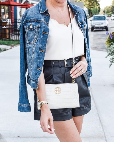 Sharing how to wear leather shorts on the blog today! I love this transitional look for the fall, and its on sale right now!