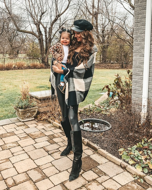 These faux leather Spanx leggings are exactly what you need for a cozy and comfortable yet super glam holiday season! I paired them here with a mostly black look with this shawl and bodysuit!