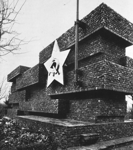 "The Bauhaus architect Ludwig Mies van der Rohe's 1926 ""Monument to Rosa Luxemburg and Karl Liebkneckt,"" later demolished by Hitler"