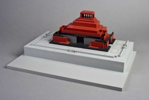 Model of Alexey Shchusev's third and final (stone) version of the Lenin Mausoleum (1930) in Moscow, still standing to this day. From Shchusev's brief stint with primitivist/pyramidal modernism.