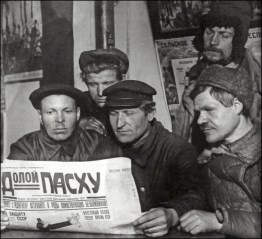 "workers reading a paper, ""Down with Easter!"" 1926"