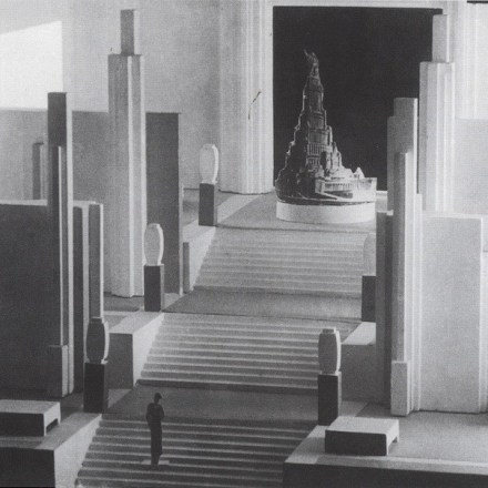 Nikolai Suetin's crypto-Suprematist model for the 1937 Soviet Pavilion, featuring Iofan's Palace of the Soviets
