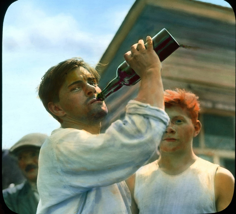 My reaction to the latest hullabaloo — Muscovite worker taking a swig from a bottle while on break (1931)