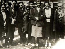 "Natja Catalan, Tibor Weiner, Philipp Tolziner, Konrad Püschel, Margarete Mengel, Lilya Polgar, Anton Urban – members of the ""Hannes Meyer architectural group"" in Moscow, mid-1930s"
