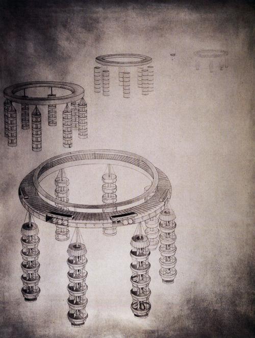 Detail of Georgii Krutikov's Flying City (1928)