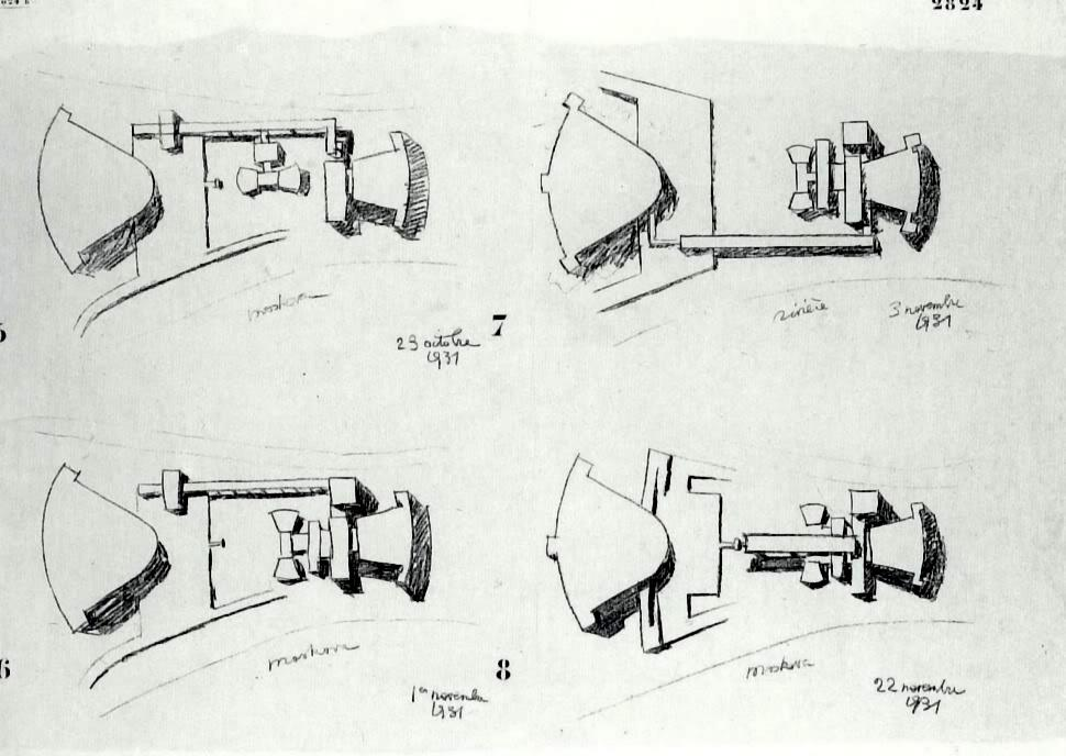 Le Corbusier, variations on the design for the Palais des Soviets sketched between October 23 and November 22, 1931