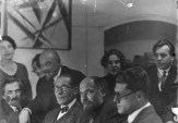 Le Corbusier with the Vesnin brothers and Andrei Burov in Moscow (1928)