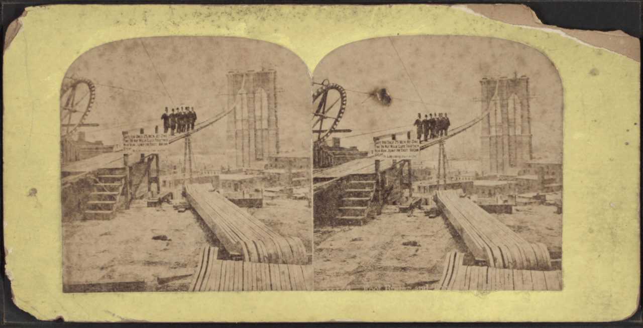 Construction of Brooklyn Bridge, from Robert N. Dennis' collection of stereoscopic views