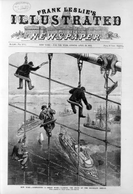 Frank Leslie's Illustrated Newspaper The Brooklyn Bridge in New York City (1883)