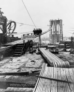 Brooklyn Bridge during construction (1877)