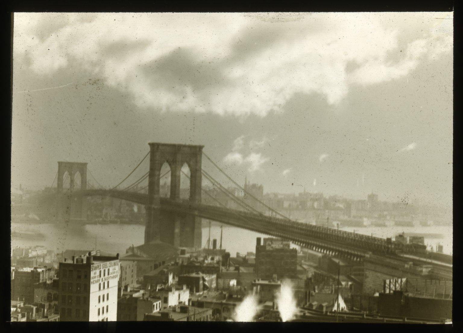 Brooklyn Bridge; sunset. Collection- Lantern Slide Collection Views- U.S., Brooklyn Brooklyn Bridge 1896-1900