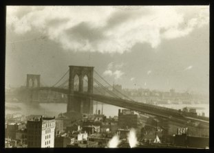 Brooklyn Bridge; sunset. Collection- Lantern Slide Collection Views- U.S., Brooklyn Brooklyn Bridge 1896-1900