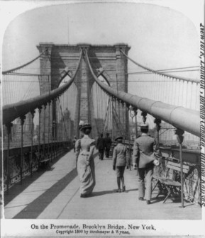 Pedestrian crossing at the Brooklyn Bridge in New York City (1899)