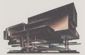 Iakov Chernikhov, Composition 138, airplane factory 1928, looks like Mies' monument mounted on pilotis