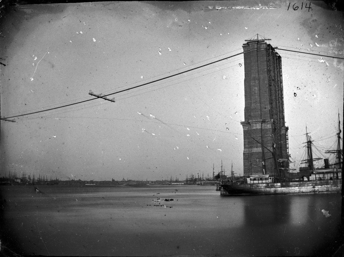 George Bradford Brainerd (American, 1845-1887). Construction of Brooklyn Bridge